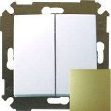 Выключатель двухклавишнныйпроходной (переключатель), 10А, 250В,бронза 34397-036