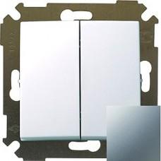 Выключатель двухклавишный, 10А, 250В, S34, алюминий 34398-033