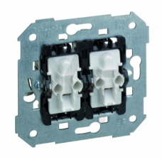 Двухклавишный кнопочный выключатель с подсветкой, 10А 250В, S82,82N 75393-39