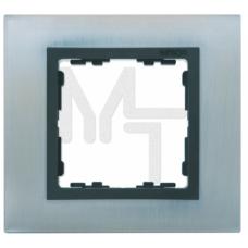 Рамка на 1 пост, S82N, нерж.сталь - графит (металл им.) (10130040/290115/0000388/3, ИСПАНИЯ) 82817-37