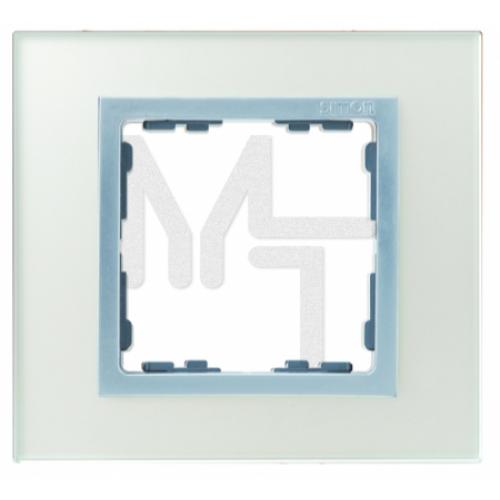 Рамка на 1 пост, S82N, серебро - алюминий (стекло) (10130040/080415/0001870/1, ИСПАНИЯ) 82917-62