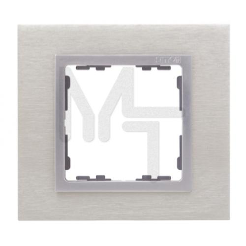 Рамка на 1 пост, S82N, сталь матовая - алюминий (металл им.) (10130080/241213/0018717/4, ИСПАНИЯ) 82917-34