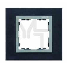 Рамка на 1 пост, S82N, сталь матовая чёрная - алюминий (металл) (10130080/220513/0006709/2, ИСПАНИЯ) 82917-38