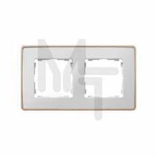Рамка декоративная, 2 поста, Select, S82 Detail, белый-дерево (Бук) 8201620-270