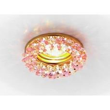 Встраиваемый точечный светильник K206 PI/G золото/розовый хрусталь MR16 K206 PI/G