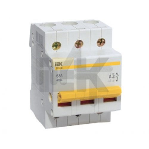 Выключатель нагрузки (мини-рубильник) ВН-32 3Р 100А ИЭК MNV10-3-100