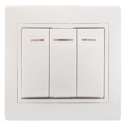 ВС10-3-1-КБ Выключатель 3кл с инд. 10А КВАРТА (белый) EVK31-K01-10-DM