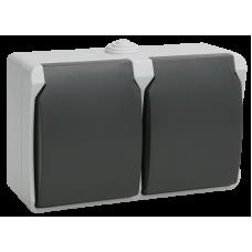 РСб22-3-ФСр Розетка двухместная с з/к для открытой установки ФОРС IP54 IEK ERS22-K03-16-54-DC