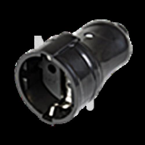 РПп10-02-Ст Розетка разборная прямая с з/к 16А черная ERP10-16-01-K02