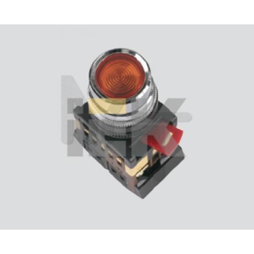 Кнопка ABLF-22 белый d22мм неон/240В 1з+1р ИЭК BBT10-ABLF-K01
