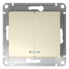 Glossa Беж Выключатель 2-клавишный с подсветкой, сх.5а GSL000253