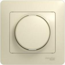 Glossa Беж Светорегулятор (диммер) универсальный, 600Вт/ВА (в сборе с рамкой)  Schnaider GSL000236