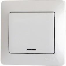 Glossa Бел Выключатель 1-клавишный с подсветкой, сх.1а  Schnaider GSL000113