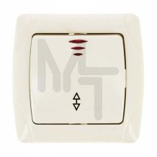 Мадрид Выключатель проходной 1-клавишный с индикатором 10А бежевый EKF EIV10-125-20