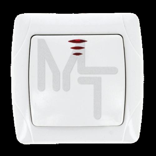 Мадрид Выключатель 1-клавишный с индикатором 10А белый EKF EIV10-121-10