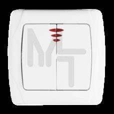 Мадрид Выключатель 2-клавишный с индикатором 10А белый EKF *EIV10-123-10