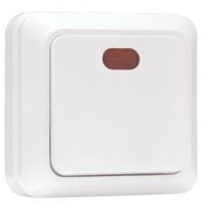 Рим Выключатель 1-клавишный с индикатором 10А белый EKF ENV10-121-10