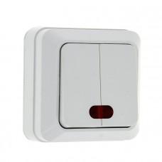 Рим Выключатель 2-клавишный с индикатором 10А белый EKF ENV10-123-10