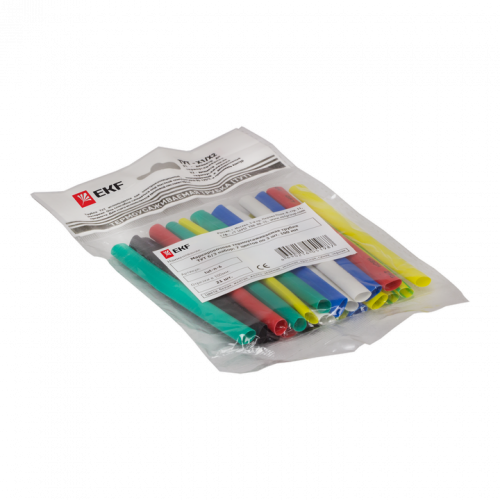 Термоусаживаемая трубка ТУТ 30/15 набор:7 цветов по 3шт. 100мм. EKF PROxima tut-n-30