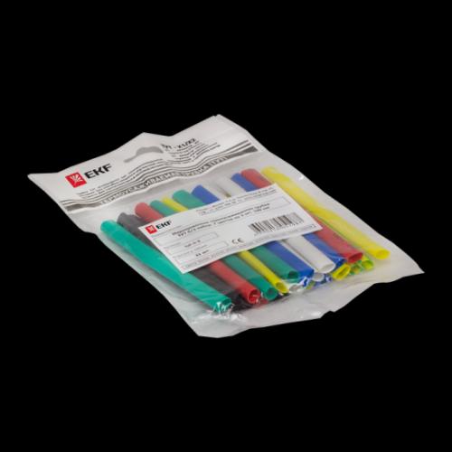 Термоусаживаемая трубка ТУТ 50/25 набор:7 цветов по 3шт. 100мм. EKF PROxima tut-n-50