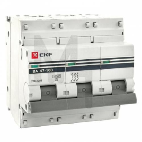 Автоматический выключатель 3P 80А (D) 10kA ВА 47-100 EKF PROxima mcb47100-3-80D-pro