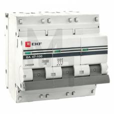 Автоматический выключатель 3P 100А (C) 10kA ВА 47-100 EKF PROxima mcb47100-3-100C-pro
