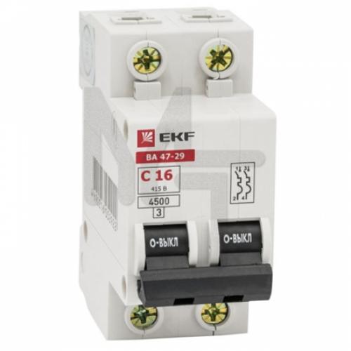 Автоматический выключатель 2P 25А (C) 4,5кА ВА 47-29 EKF Basic mcb4729-2-25C