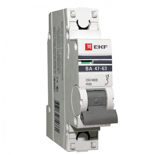 Автоматический выключатель 1P 25А (В) 4,5kA ВА 47-63 EKF PROxima mcb4763-1-25B-pro