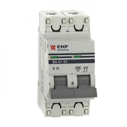 Автоматический выключатель 2P 2А (C) 4,5kA ВА 47-63 EKF PROxima mcb4763-2-02C-pro