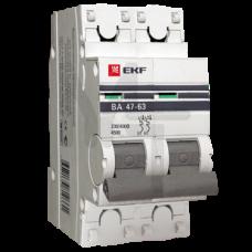 Автоматический выключатель 2P 25А (C) 4,5kA ВА 47-63 EKF PROxima mcb4763-2-25C-pro