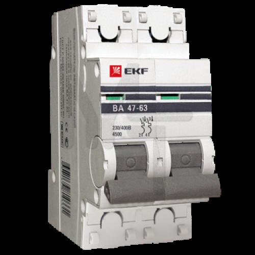 Автоматический выключатель 2P 63А (C) 4,5kA ВА 47-63 EKF PROxima mcb4763-2-63C-pro
