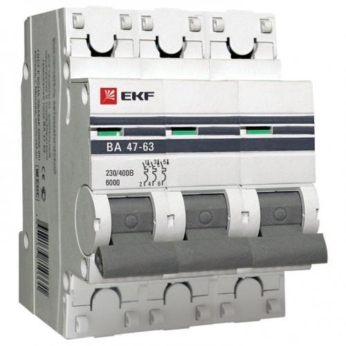 Автоматический выключатель 3P 25А (C) 6кА ВА 47-63 EKF PROxima mcb4763-6-3-25C-pro