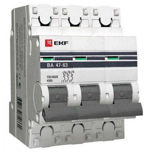 Автоматический выключатель 3P 50А (D) 4,5kA ВА 47-63 EKF PROxima mcb4763-3-50D-pro