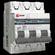 Автоматический выключатель 3P 63А (C) 4,5kA ВА 47-63 EKF PROxima mcb4763-3-63C-pro