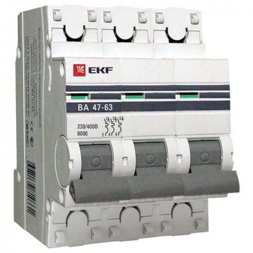 Автоматический выключатель 3P 63А (C) 6кА ВА 47-63 EKF PROxima mcb4763-6-3-63C-pro