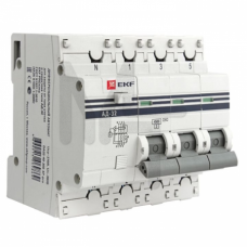 Дифференциальный автомат АД-32 3P+N 32А/30мА (хар. C, AC, электронный, защита 270В) 4,5кА EKF PROxima DA32-32-30-4P-pro