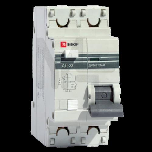 Дифференциальный автомат АД-32 1P+N 50А/30мА (хар. C, AC, электронный, защита 270В) 4,5кА EKF PROxima DA32-50-30-pro