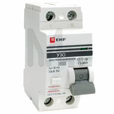 Устройство защитного отключения УЗО ВД-100 2P 40А/30мА (электромеханическое) EKF PROxima elcb-2-40-30-em-pro