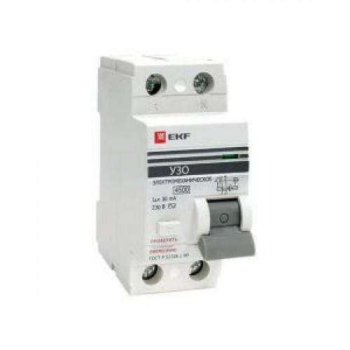 Устройство защитного отключения УЗО ВД-100 2P 63А/30мА (электромеханическое) EKF PROxima elcb-2-63-30-em-pro