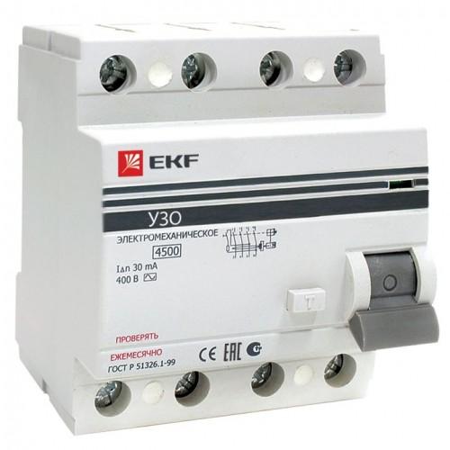 Устройство защитного отключения УЗО ВД-100 4P 100А/300мА (электромеханическое) EKF PROxima elcb-4-100-300-em-pro