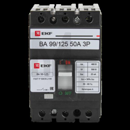Выключатель автоматический ВА-99 125/50А 3P 25кА EKF PROxima mccb99-125-50