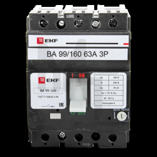 Выключатель автоматический ВА-99 160/63А 3P 35кА EKF PROxima mccb99-160-63