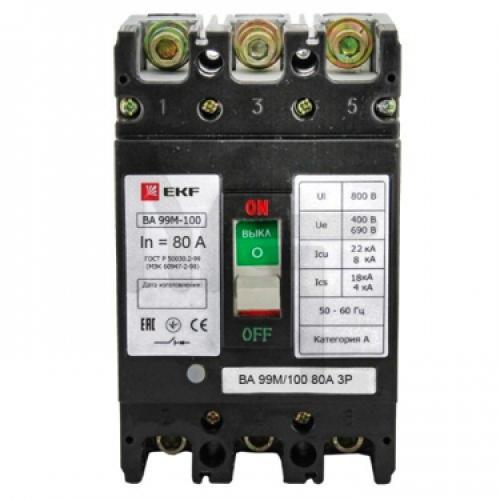 Выключатель автоматический ВА-99М 100/63А 3P 20кА EKF Basic mccb99-100-63m