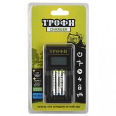 Зарядное устройство ТРОФИ TR-803 AAA LCD скоростное+2 HR03 800mAh C0031648