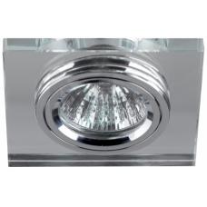 DK8 CH/WH Светильник  ЭРА декор стекло квадрат MR16,12V/220V, 50W, хром/зеркальный C0043740