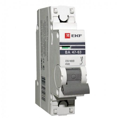 Автоматический выключатель 1P 63А (В) 4,5kA ВА 47-63 EKF PROxima mcb4763-1-63B-pro