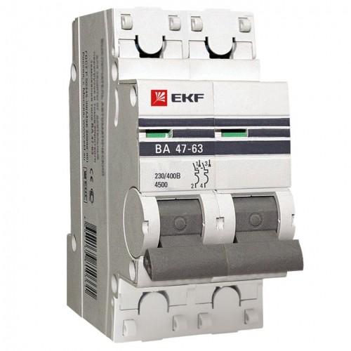 Автоматический выключатель 2P 3А (C) 4,5kA ВА 47-63 EKF PROxima mcb4763-2-03C-pro
