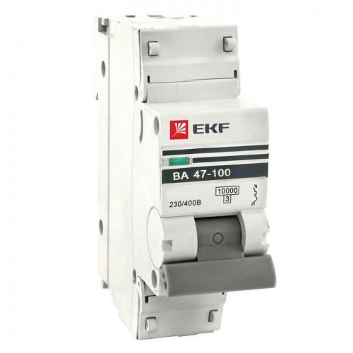Автоматический выключатель 1P 63А (C) 10kA ВА 47-100 EKF PROxima mcb47100-1-63C-pro