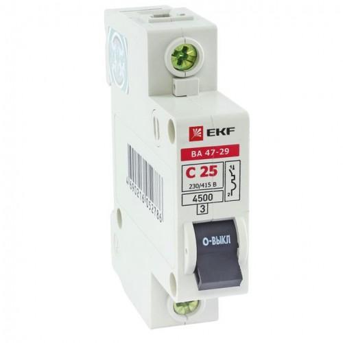 Автоматический выключатель 1P 50А (C) 4,5кА ВА 47-29 EKF Basic mcb4729-1-50C