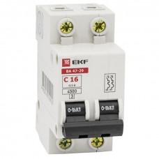 Автоматический выключатель 2P 16А (C) 4,5кА ВА 47-29 EKF Basic mcb4729-2-16C
